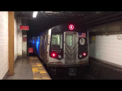 BMT 4th Avenue Line: R160B Alstom (R) Train goes Out of Service at 36th Street (RARE!)