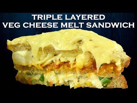 Huge Triple Layer Veg Melting Cheese Sandwich - Street Food| Melting Cheese Paneer Makhani Sandwich