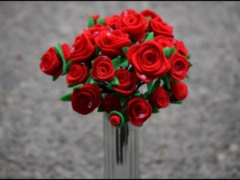 How to make Rose, artificial Rose Bouquet, Felt Sheet Flower, Artificial Flowers, Handmade Flower