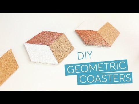 DIY geometric hexagon cork coasters - IKEA hack   CharliMarieTV