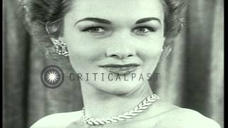 Models display various jewelry creations by Trifari in New York. HD Stock Footage
