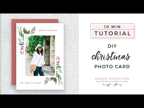 DIY Christmas Photo Card Tutorial on Pages or Word for Beginners - Easy & Simple
