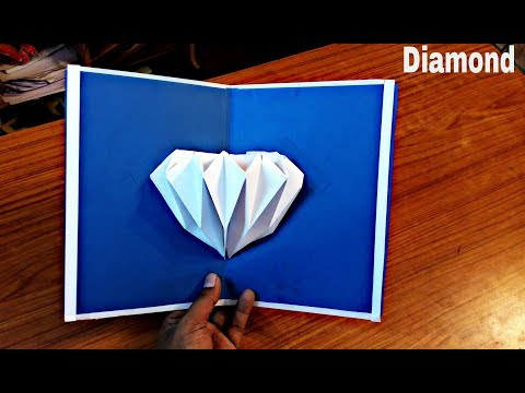 DIY 3D Diamond Pop up Card-Paper Crafts-Handmade Craft