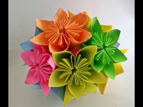How to make - Kusudama Flower Ball || kusudama flower bouquet || Origami Flower Ball || Craftastic