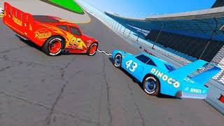 Race Cars 2 Daytona Lightning McQueen VS The King DINOCO and Cars Friends Videos for Kids & Songs