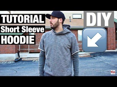 HOW TO TURN AN OLD SWEATSHIRT INTO SOMETHING WEARABLE AGAIN! DIY - Short Sleeve Hoodie Tutorial