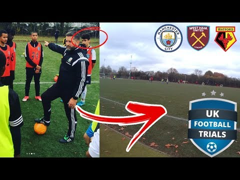 I Went UK Football Trials!! GAME FOOTAGE - (Scouts Watching) | Man City, West Ham, Watford!!