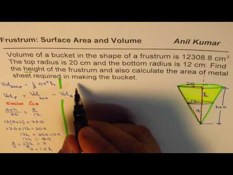 How to Find Height of Frustrum from Volume and Top bottom Radius