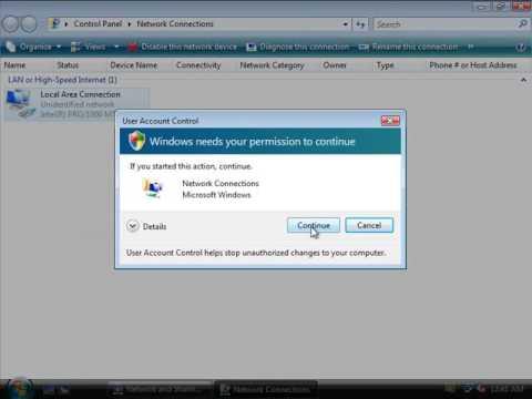 Setting a Static IP address in Windows Vista