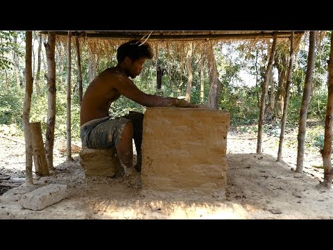 Primitive Technology, Mud huts, Making Table - ep 5