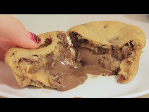 Peanut Butter and Nutella Stuffed Chocolate Chip Cookies