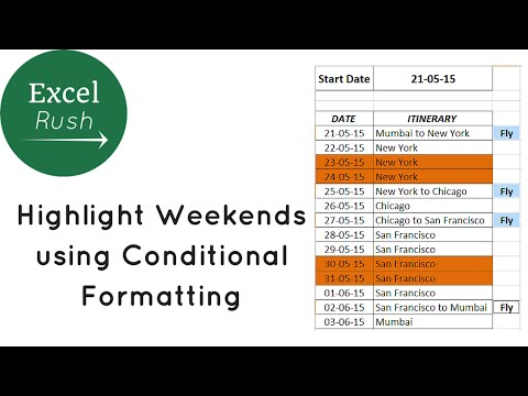 Highlight Weekends using Conditional Formatting in Excel - Plan your trip cheaper