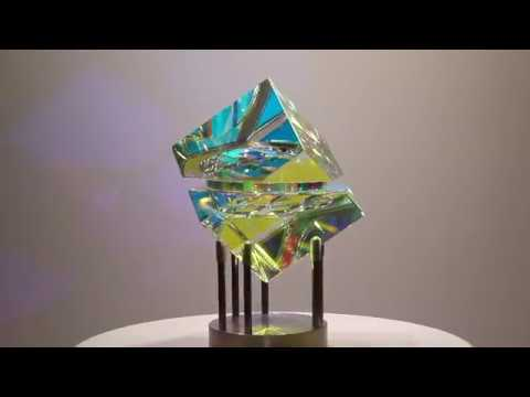 Owain Cube - Glass Sculpture by Jack Storms