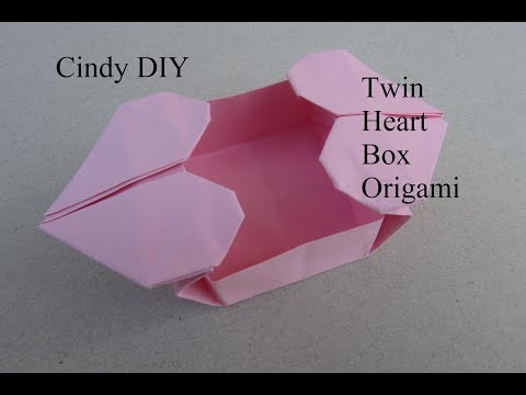 Twin Heart Box Origami | Easy Paper Craft for beginner | Cindy DIY
