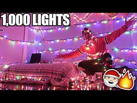 1,000 CHRISTMAS LIGHTS PRANK ON ROOMMATE!! *BACKFIRES*
