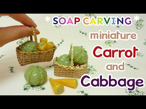 SOAP CARVING| Cabbage and Carrot | Miniature | Easy | DIY | Real Sound | How to make |