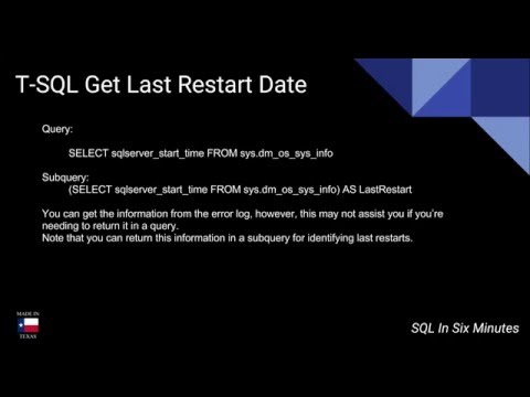 T-SQL: Get the Last SQL Server Restart Date