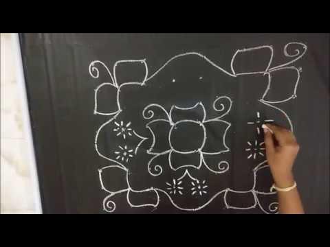 Easy Flower rangoli desgin with dots 8x8