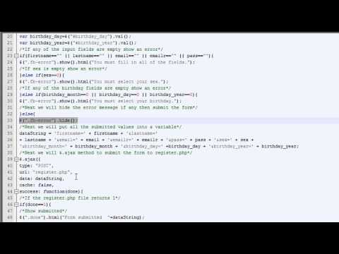 jQuery Tutorial (Creating a Facebook like Registration Form with jQuery)