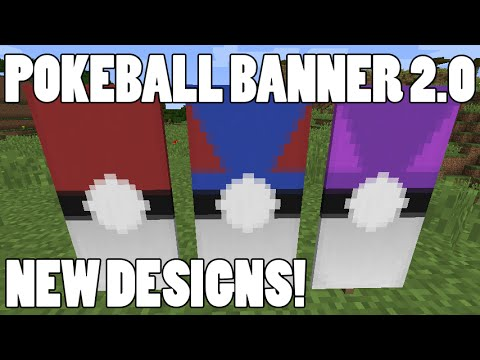 Pokeball Banner 2.0 in Minecraft! Great Ball and Master Ball Banner Design!