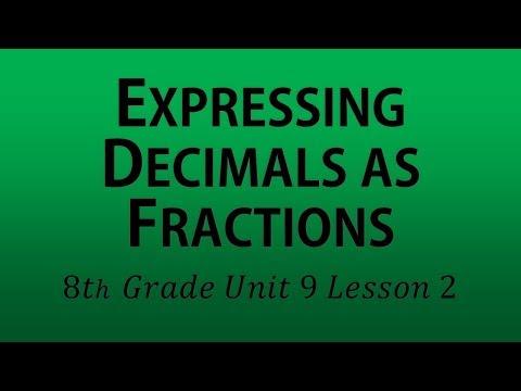 Expressing Decimals as Fractions (8th Grade Unit 9 Lesson 2)