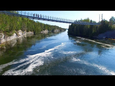 Beautiful Aerial View of Ranney Gorge Suspension Bridge (Campbellford) 4K UHD