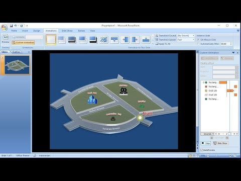 Powerpoint training |How to Create Custom Animations of 3D Map with shapes in Powerpoint