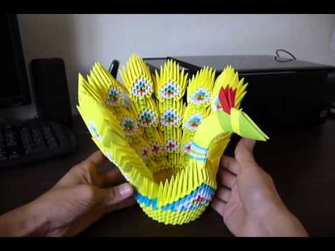 Pavo Real Stick Tail Origami 3D