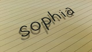 Very Easy!! How To Drawing 3D Floating your name SOPHIA for Kids 3D Trick Art on Line Paper