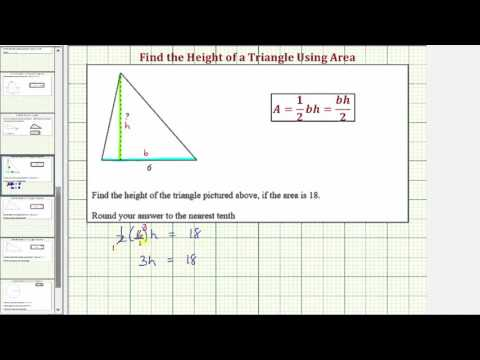 Ex: Find the Height of a Triangle Given Area (Even Base)