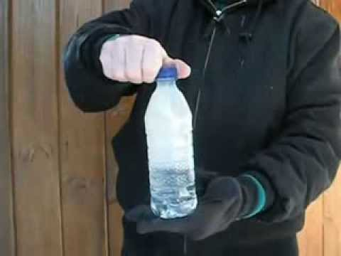 Bottle of water freezes instantly
