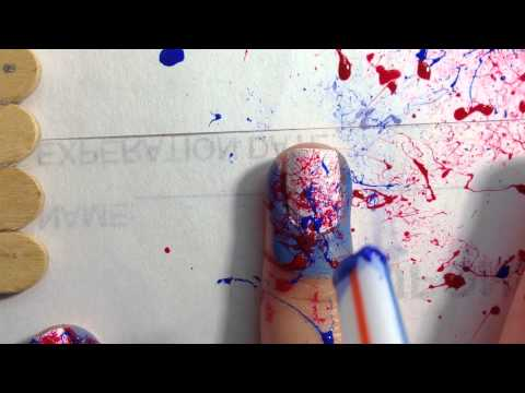 4th Of July Paint Splatter Nails!💙❤️🎉
