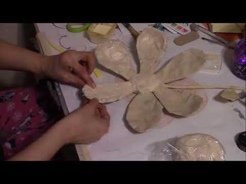 The beginning of a paper mache flower prt.1
