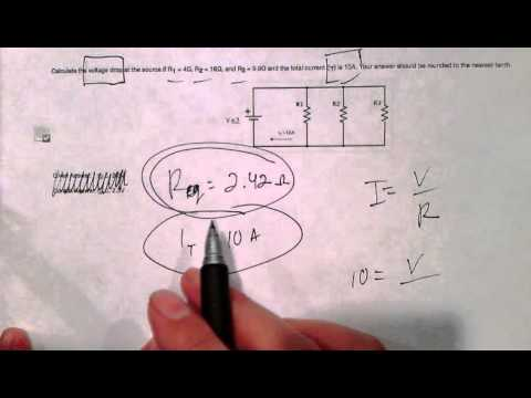 Calculating Voltage Drop For Parallel Circuits Given Equivalent Resistance & Total Current