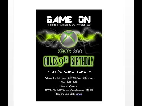 How to make XBOX birthday invitation with MS Word