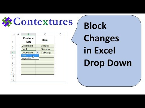Block Changes in Excel Drop Down List