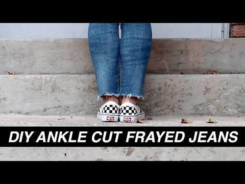 DIY ANKLE CUT FRAYED JEANS