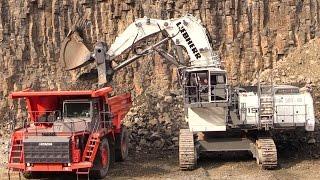 Liebherr R9150 Mining Excavator Loading Hitachi EH1100-5 Mining Truck @ Steinexpo 2014