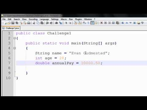 Java Tutorial - 3 - Primitive Variables and String