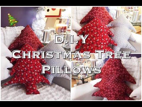 No Sew Christmas Tree Throw Pillows