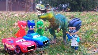 PJ Masks Save Disney Pixar Cars Lighting McQueen & Sally GIANT Dinosaur Catboy Romeo Full Episode