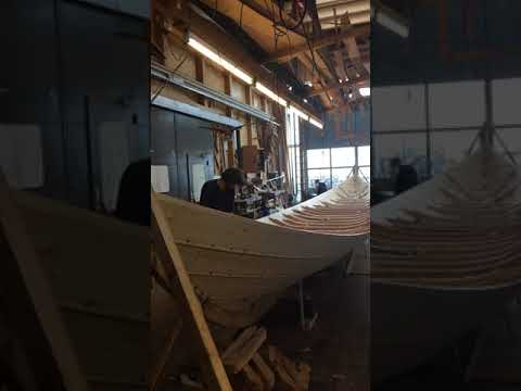 The building of a new Viking long boat