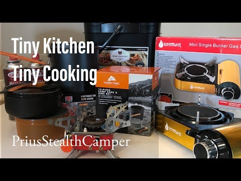 Tiny Kitchen Tiny Cooking - Small Mini Spaces - RV Van Car Tent - Butane Camp Stove Review