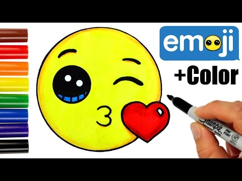 How to Draw + Color Kissing Emoji step by step -Super EASY Cute