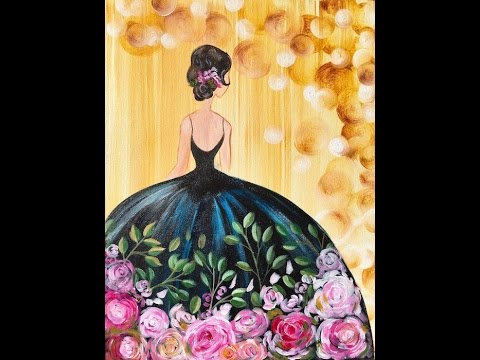 Girl in a Party Dress  Acrylic Painting on Canvas for Beginners