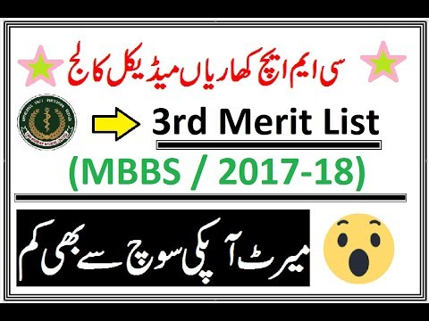 3rd Merit List of CMH Khariyan Medical College (MBBS 2017-18)