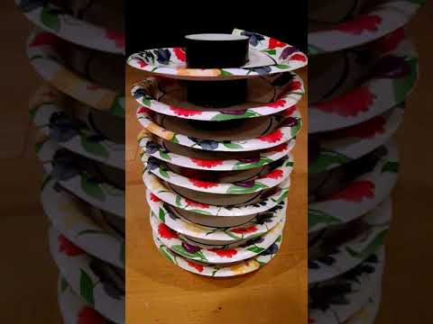 Spiral ball run track made from paper plates and a poster tube