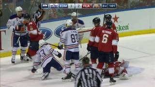 Nugent-Hopkins gets a hard working goal after possible missed call