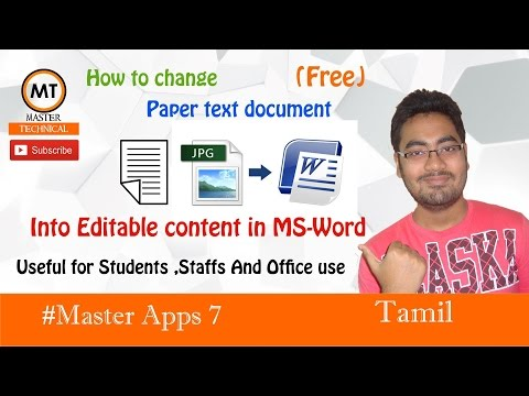 How to convert the paper text document into Editable word document | Master Apps 7 | Tamil
