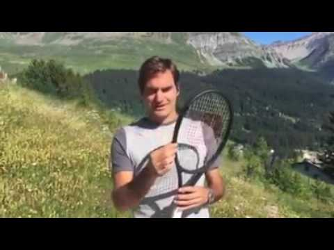 Roger Federer Showing off His new Racket made with Wilson Tennis
